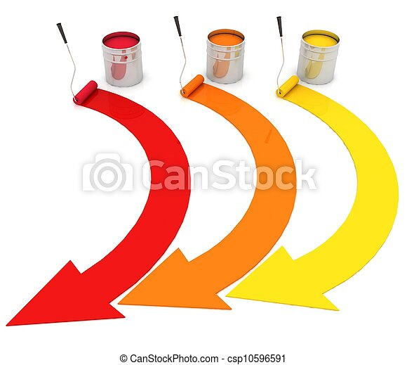 open buckets with a paint and rollers - csp10596591