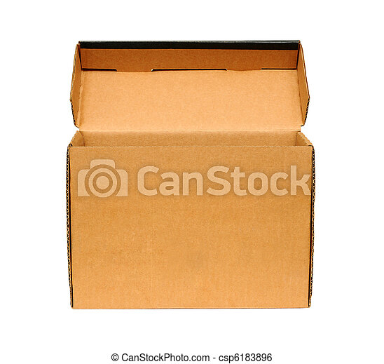 Open cardboard box. Isolated on white background. - csp6183896
