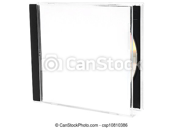 Open CD box with disc on white background - csp10810386