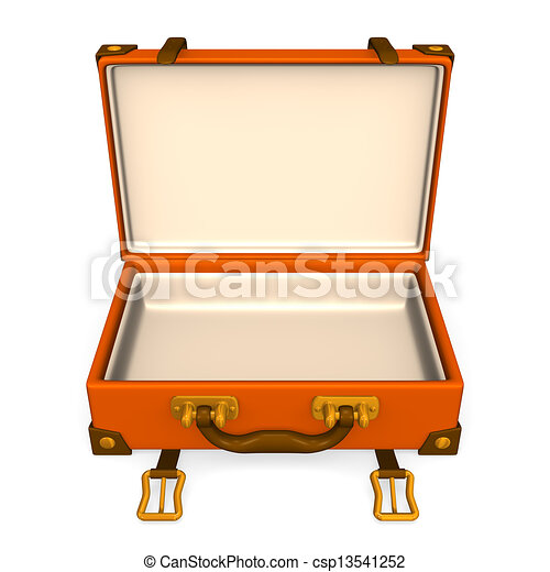 open classical luggage front 3d render illustration stock rh canstockphoto com