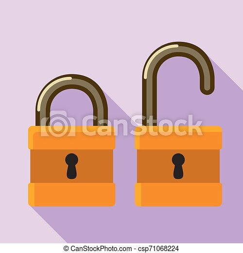 Open closed padlock icon, flat style - csp71068224