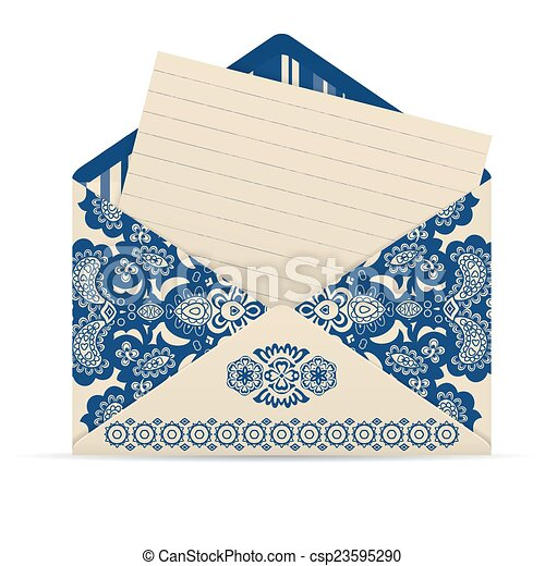open decorative cute envelope with letter