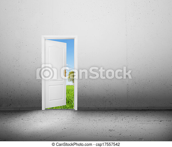 Open door to a new better world, the green summer landscape. Conceptual new way, entrance to new world, life, hope. - csp17557542