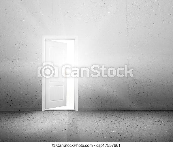 Open door to a new better world, the sun light shining through doorway - csp17557661