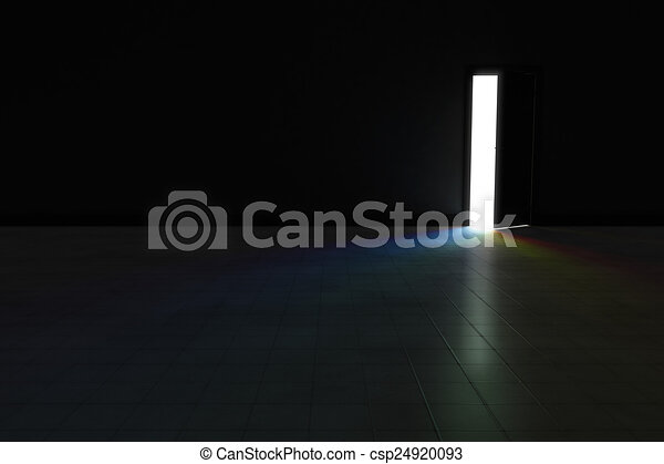 Dark Room With Light Streaming In Stock Photo