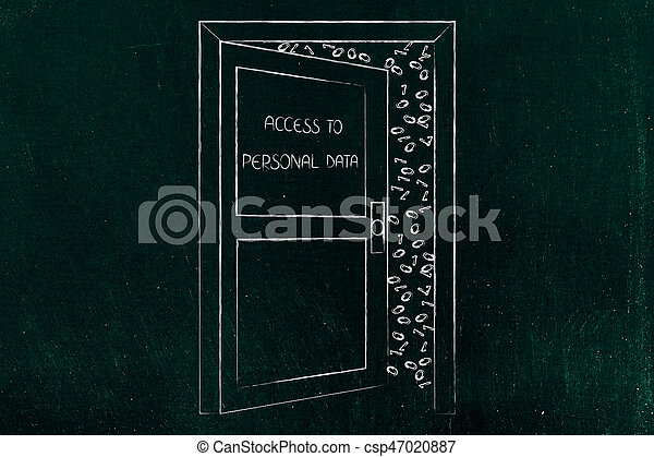 open door with text Personal Information and messy data (binary code) behind