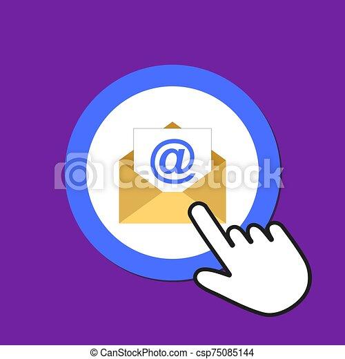 Open envelope icon. Sending email concept. Hand Mouse Cursor Clicks the Button. - csp75085144