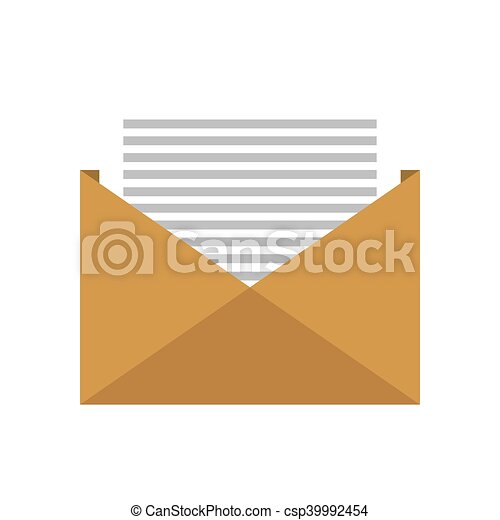Open Envelope Letter Open Yellow Envelope With Page Information