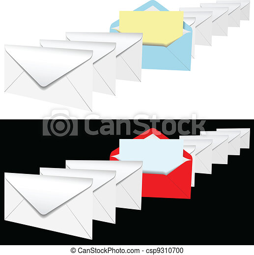 open envelope letter in row of letters csp9310700