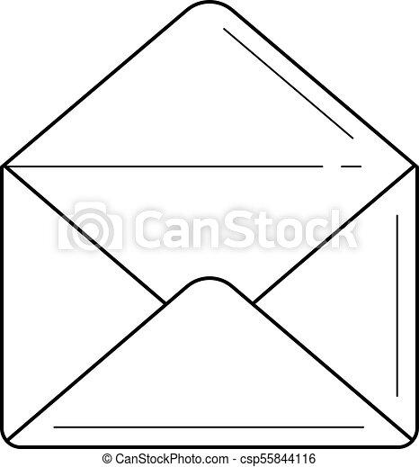 Open Envelope Line Icon