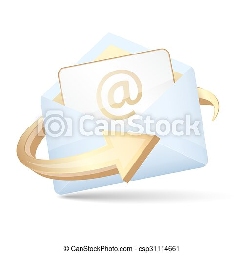 Open Envelope Vector Icon With Arrow And Email Letter Open Envelope