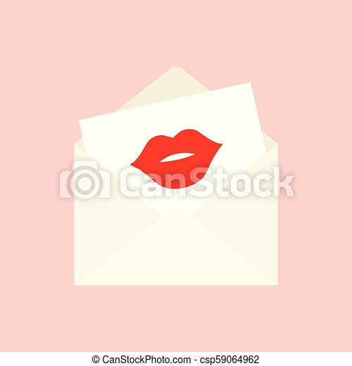 open envelope with the imprint of a red kiss - csp59064962