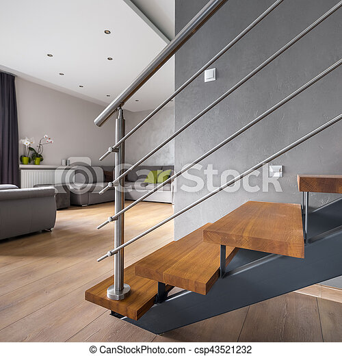 Open floor apartment with staircase - csp43521232