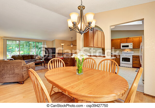 Open Floor Plan Living Room And Kitchen View From Dining Area Northwest Usa Canstock