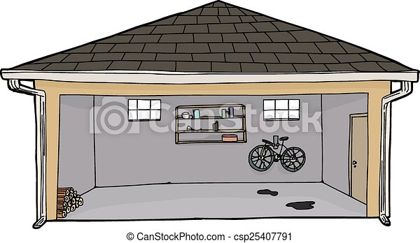 Hand Drawn Cartoon Open Garage With Log Pile Eps Vectors