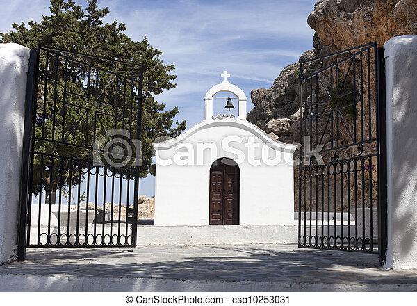 open gate to white church - csp10253031