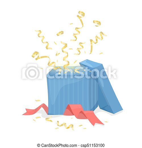 Open Gift Box Explode Gold Ribbon And Confetti Vector Illustration