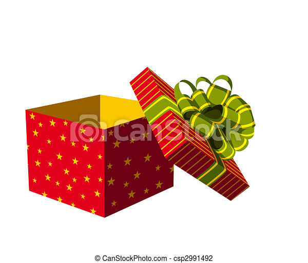 Open Gift Box Red With Green And Golden Ribbon