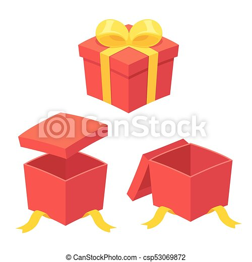 Open gift box set christmas present boxes set opening and open gift box set csp53069872 negle Images