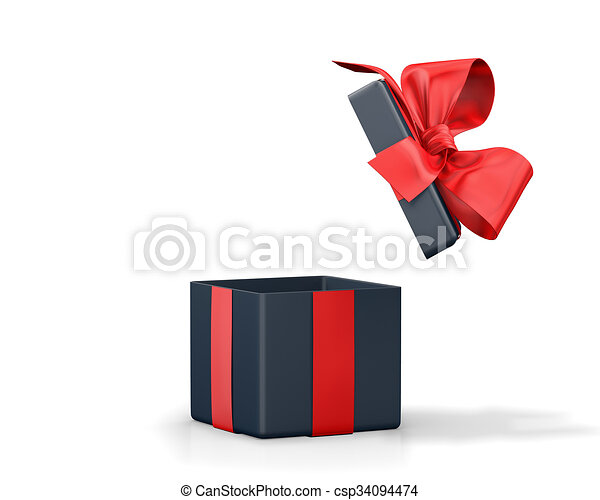 Open Gift Box With Red Bow Isolated On White Stock Illustrations