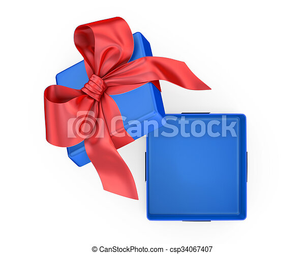 Open gift box with bow - csp34067407  sc 1 st  Can Stock Photo & Open gift box with bow isolated on white.