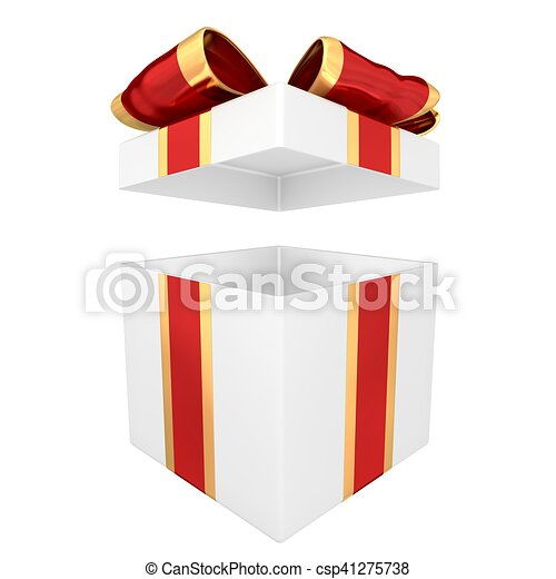 Open gift box with red and gold ribbon 3d illustration open gift box with red and gold ribbon 3d illustration negle Images