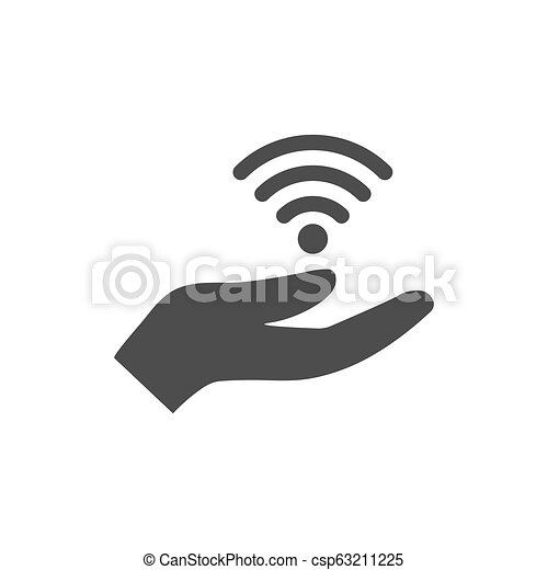 Open hand and wifi icon. Vector illustration. Flat design. - csp63211225
