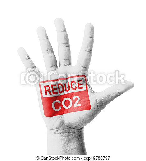 Open hand raised, Reduce CO2 sign painted - csp19785737