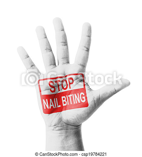 Open hand raised, stop nail biting (onychophagia) sign painted ...