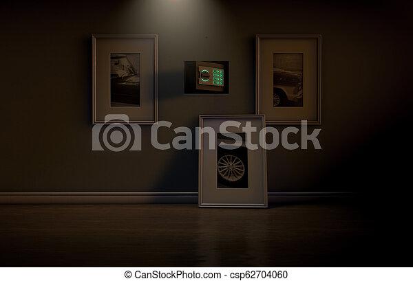 Open Hidden Wall Safe Behind Picture An Open Hidden Wall Safe