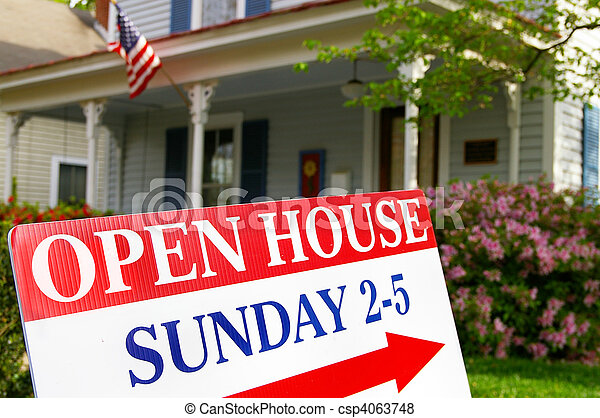 Open House sign if front of house for sale - csp4063748