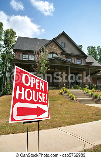Open house sign in front of a new home - csp5762983