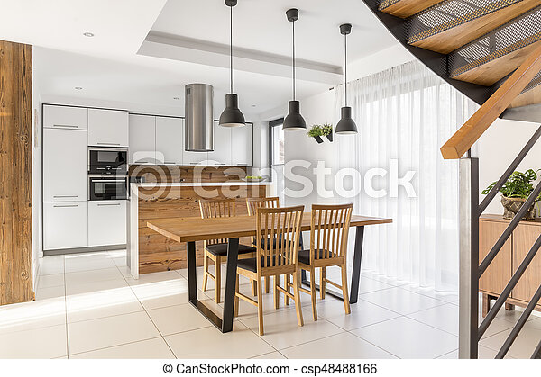 Open kitchen and dining room - csp48488166