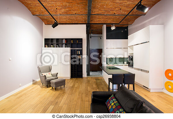 Open kitchen and drawing room - csp26938804