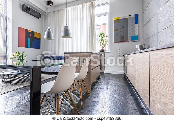Open kitchen with island - csp43499366