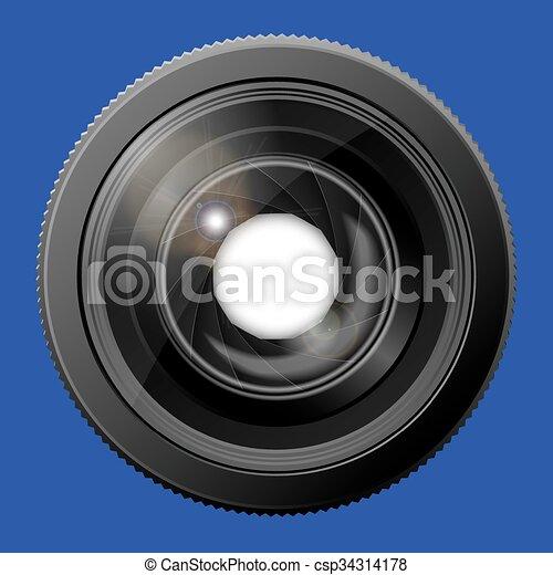 open., lentille appareil-photo, réaliste, volet - csp34314178