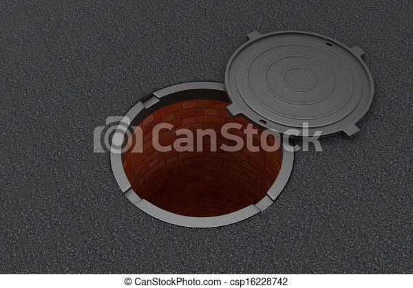 Open manhole on the asphalt - csp16228742