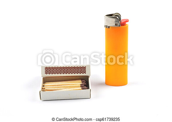 Open matchbox and lighter on white background - csp61739235