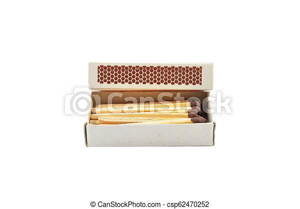 Open matchbox on white background - csp62470252