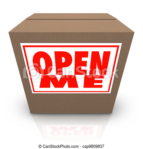 Open Me Label on Cardboard Box Mystery Present Package - csp9809837