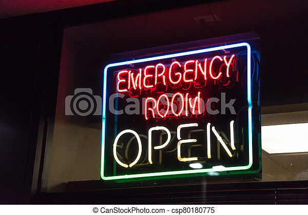 Open neon or led sign of an emergency room illuminated at night in America - csp80180775