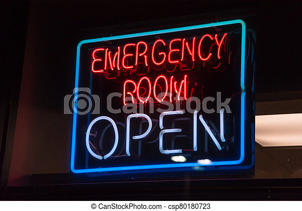 Open neon or led sign of an emergency room illuminated at night in America - csp80180723