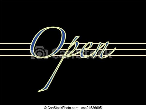 open neon sign - csp24536695