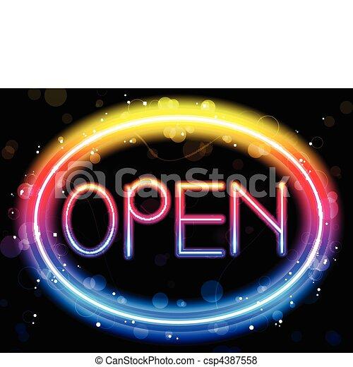 Open Neon Sign Rainbow Color - csp4387558