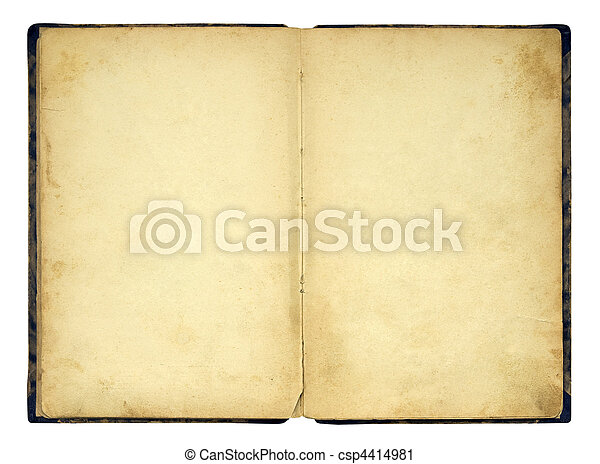 Open old blank book isolated - csp4414981