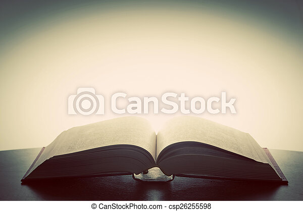 Open old book, light from above. Fantasy, imagination, education - csp26255598