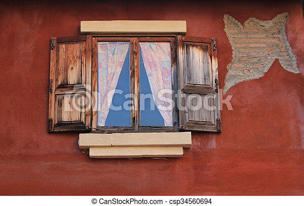 Open Old Window On Brick Wall - csp34560694
