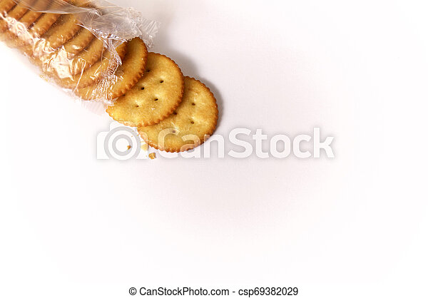 open package of round butter crackers - csp69382029