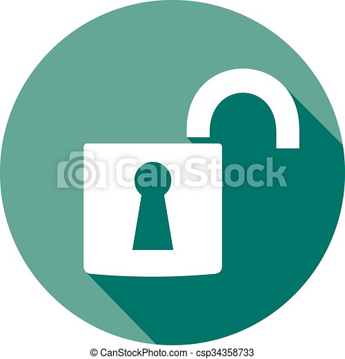 open padlock flat icon - csp34358733