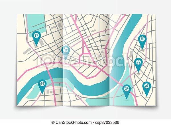 Open paper city map - csp37033588
